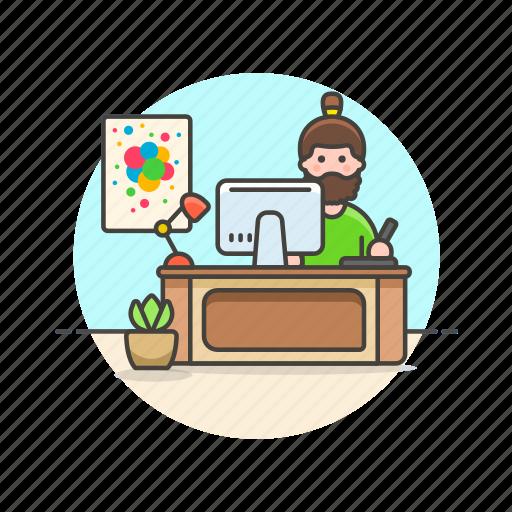 art, creative, designer, graphic, man, office, workspace icon