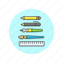 brush, design, equipment, pen, pencil, ruler, stationary, tool icon