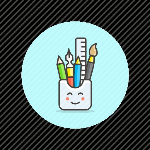 brush, design, equipment, pen, pencil, ruler, stationary, tool icon