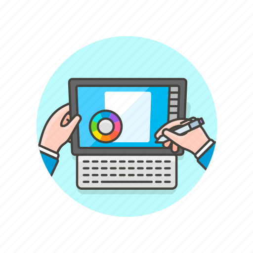 creative, design, dial, hand, pantone, studio, surface, tablet icon