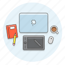 creative, designer, desktop, graphic, office, pen, tablet, work icon