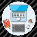 art, creative, desktop, graphic, office, pen, tablet, work icon