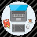 art, creative, design, desktop, graphic, office, pen, tablet icon