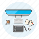 creative, design, desktop, imac, notebook, office, pen, tablet icon