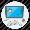 creative, design, keyboard, office, pen, studio, surface, work icon