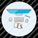 creative, design, dial, keyboard, pen, studio, surface, work icon
