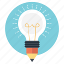 bulb pencil, concept design, creativity, ideas inspiration, splash pencil icon