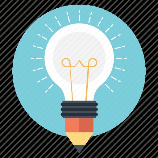 bulb pencil, concept design, creativity, ideas inspiration, splash pencil icon