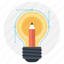bulb pencil, creativity, ideas inspiration, innovation, splash pencil icon