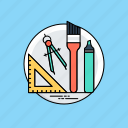 architect instruments, drafting tools, drawing tools, geometry, stationery icon