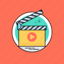 action clapper, clapperboard, filmmaking, movie recording, video production icon