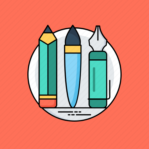 design tools, drawing tools, paint brush, pencil, stationery icon