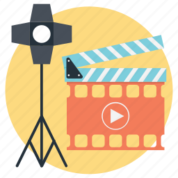 action, clapper, photography lights, professional photography, video production icon