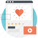 customer feedback, favorite video, favorite website, social media like, website rating icon