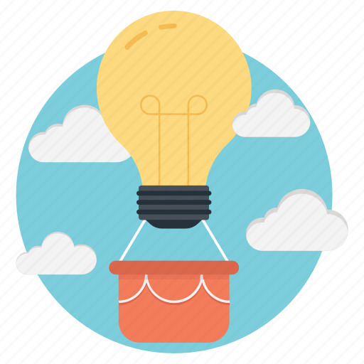 action plan, creative idea, light bulb hot air balloon, light bulb inspired gadgets and design, strategy solution icon