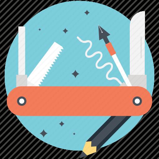 create content, illustration tools, jack knife, pencil, tools icon