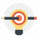 bright ideas, bulb pencil, define the goal, ideas inspiration, innovation icon