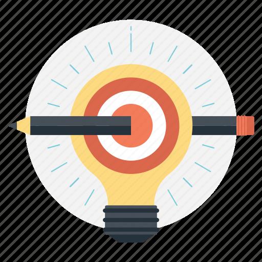 bright ideas, bulb pencil, define the goal, ideas inspiration, innovation icon