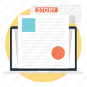 online article, web article, web blog, web story, web storytelling icon