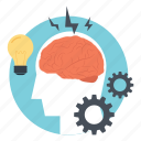 brain cogs, brain potential, brain process, brainstorming, creative thinking icon