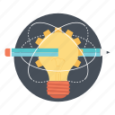 bulb pencil, creative solution, ideas inspiration, innovation, smart solution icon