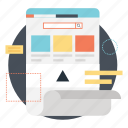 application window, landing page, layout design, site design, wireframe icon