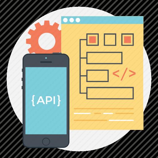 api interface, app design, app development, mobile api, mobile development icon