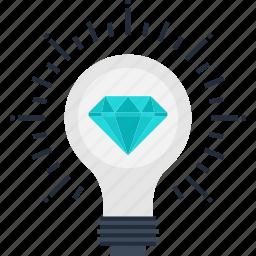 brilliant, bulb, energy, idea, imagination, light, power icon