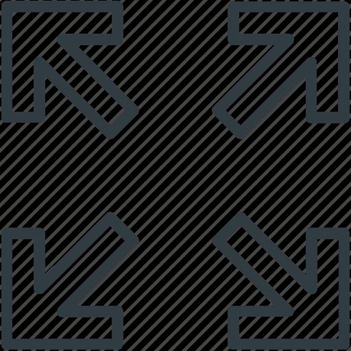 exit fullscreen, fullscreen, minimize, player, reduce icon