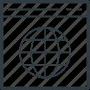 browsing, global, globe, globe screen, notebook icon