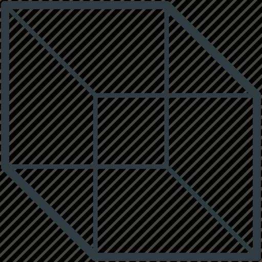 box, cube, cube shape, hollow cube, shape icon