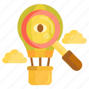 creativity, discovery, hot air balloon icon