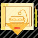blueprint, design, furniture, interior, interior design icon