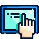 equipment, finger, hand, tablet, tool icon