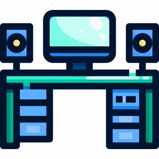 computer, desk, office, worker icon