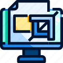 computer, crop, design, tool icon