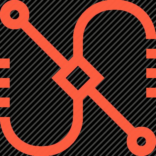 bezier, curvature, curve, design, line, point icon
