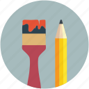 art, color, design, draw, pencil, pencil and brush, pencils icon