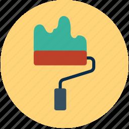paint brush, paint roller, paint roller frame, painting, roller, roller frame icon