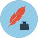 ink, inkpot, inkwell, leaf, quill, quill and ink, write with quill icon