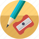 design, drawing tool, pencil cutter, sharpener, sharpener and pencil, sharpener tool icon