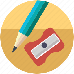 design, drawing tool, pencil cutter, sharpener, sharpener and pencil, sharpener tool icon