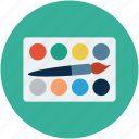 color palette, colors, creative, design, palette, palette with brush, palette with pencil icon