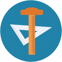 geometry, geometry triangle, hammer, protractor, triangle icon