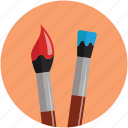 brush and stick, brushes, color with brush, design, paint brush, paint stick and brush, painting icon