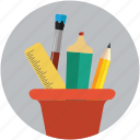 office material, pen, pencil, pencil basket, pencils, ruler, school, tools icon