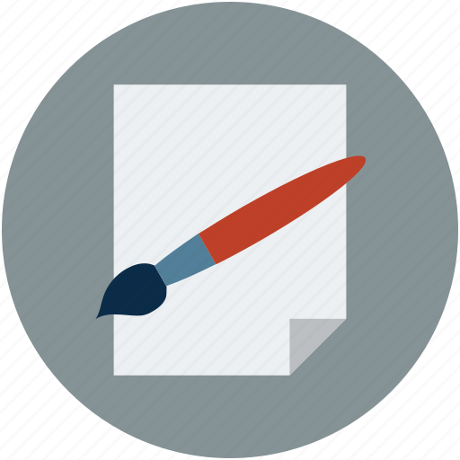 brush, brush and paper, design on paper, documents page icon