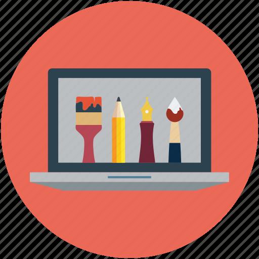 art, art tool, design on laptop, designing, graphics, illustrator art, photoshop art icon