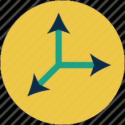 arrow, direction, divide, double, parting, raphael arrow, split icon