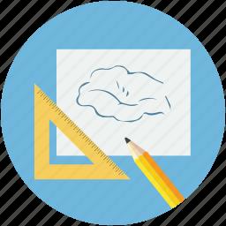 art work, designing, paper design, pencil, pencil art work, pencil with triangle, triangle icon